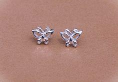 Silver Butterfly Ear Studs Butterfly Jewelry by karlasdesign, $15.00