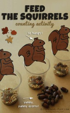 Free printable feed the squirrels counting activity for preschool, pre-k, and kindergarten. #earlychildhoodeducation #earlylearning #ece #prek #preschool #kindergarten #prekactivities #preschoolactivities #kidsactivities #math #counting #squirrels #fall #autumn
