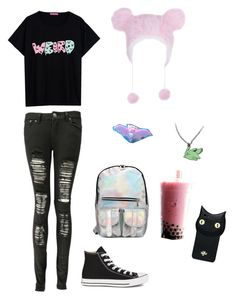 """Untitled #4959"" by northamster ❤ liked on Polyvore featuring moda, Boohoo, Converse e Valfré"
