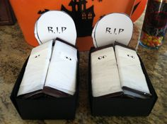 Mummy Hershey bars in a grave-black card stock folded to form box, tombstone printout