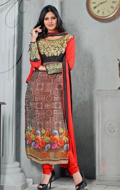Radiant Red and Brown Color Stylish Salwar Kameez