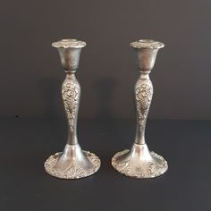 "Vintage Pair of 8.5"" Godinger Candlesticks, Ornate Godinger Silver Plated Candle Holders, Scrolls, Grapes, Taper Candleholder by ahummingbirdheirloom on Etsy German Decor, Bubble Paper, Baroque Pattern, Felt Material, Holiday Themes, Vintage Silver, Candlesticks, Silver Plate, Candle Holders"