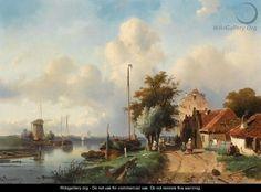 River Landscape - Charles Henri Leickert