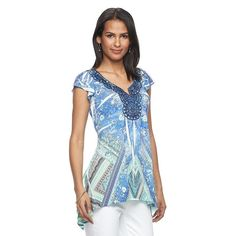 Women's World Unity Embellished Sublimation Top, Size: Medium, Med Green