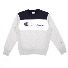 This chap has us reminiscing about Britpop, Feild Raves and all the other stuff that comes with that. Retro colour blocking and an embroidered logo across the… Sweatshirt Outfit, Grey Sweatshirt, Crew Neck Sweatshirt, T Shirt, Champion Clothing, Mens Sweatshirts, Men's Hoodies, Mode Vintage, Flannels