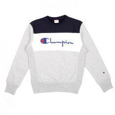 Champion Crewneck Sweatshirt (Grey, White & Navy) (1.590 ARS) ❤ liked on Polyvore featuring men's fashion, men's clothing, men's hoodies, men's sweatshirts, mens crew neck sweatshirts, mens crewneck sweatshirts, mens grey crew neck sweatshirt and mens grey sweatshirt
