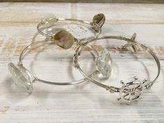 3 Piece Clear and Crystal and Shell Silvertone Nautical Wired Bangle Set