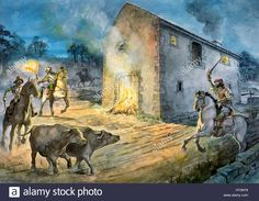 Box Canvas Print (other products available) - HADRIAN& WALL: BIRDOSWALD FORT, Cumbria. Reconstruction drawing by Philip Corke of reivers raiding Birdoswald in the century. - Image supplied by Historic England - inch Box Canvas Print made in the UK Medieval Life, Medieval Castle, Fine Art Prints, Framed Prints, Canvas Prints, A4 Poster, Poster Prints, 16th Century Clothing, Landsknecht