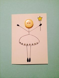 ESTER Button angel card by HattiesHomeCreations on Etsy Arte Quilling, Button Cards, Angel Cards, Handmade Birthday Cards, Paper Cards, Creative Cards, Cool Cards, Kids Cards, Scrapbook Cards