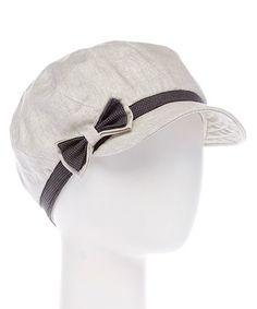This Gray & Black Bow-Accent Linen-Blend Jockey Cap is perfect! #zulilyfinds