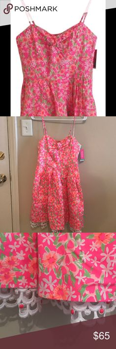 NWT Lilly Pulitzer Macaulay Dress NWT pink floral Lilly Pulitzer dress. Spaghetti strap A-line with lace detailing at bottom and bow detail on front. See photo for back details Lilly Pulitzer Dresses Mini
