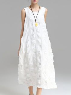 Shop Maxi Dresses - White Cotton-blend Cocoon Sleeveless Maxi Dress online. Discover unique designers fashion at StyleWe.com.