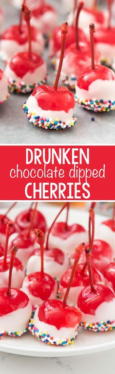 Easy Drunken Cherries - this recipe has just 4 ingredients! Dip alcohol soaked cherries in chocolate for a quick party dessert!