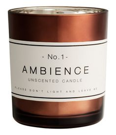 Candle in a glass holder. Unscented. Diameter 2 1/2 in., height 3 in. Burn time 20 hours.