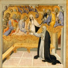 The Mystic Marriage of Saint Catherine of Siena by Giovanni di Paolo, ca. 1460 (Metropolitan Museum of Art, New York) Dominican Order - Wikipedia Dominican Order, Saint Dominique, St Catherine Of Siena, Sainte Catherine, Catholic Online, Poster Prints, Art Prints, Catholic Saints, Catholic Theology
