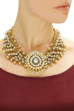 Gold finish kundan crystal motif necklace available only at Pernia's Pop-Up Shop.