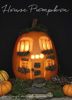 Pumpkin Carving House Ideas - a sweet Pumpkin House! by Finding Home Farms