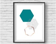 Teal Honeycomb Print Teal Honeycomb Wall Art by PrintAvenue