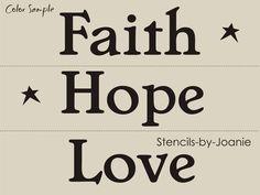 3 pc. STENCIL Faith Hope Love Stars Primitive Home Decor Country Art sign Block #DesignsbyJoanie