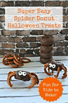 Super Easy Spider Donuts Halloween Treat Recipe  - Fun for kids to make!