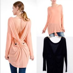 The RANDIE twisted back top - PEACH/BLACK HPx296% rayon, 4% spandex. How unique & sexy cute is this top. Hi-lo design. I pair with a tank & leggings. Style any way you please. This top runs big. AVAILABLE IN PEACH & BLACK. ‼️NO TRADE‼️ Bellanblue Tops Tees - Long Sleeve