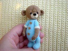 Artist Thread Crochet Teddy Bear miniature by CrochetTeddyBears