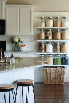 Build a big jar shelf to decorate with your beans, snacks and pasta. | 33 Clever Ways To Organize All The Small Things