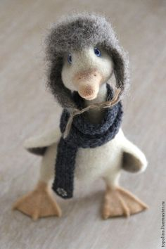 *NEEDLE FELTED ART ~ Toy animals, handmade.  Fair Masters - handmade Goose Dario.  performed by dry felting of 100% wool; paws on the wire frame , glass eyes; insulated knitted scarf and felt hat; stands on its own; 21cm height.
