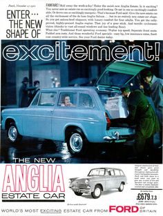 Covers the 1961 Ford Anglia Wagon that was sold in England. Ford Motor Company, Classic Motors, Classic Cars, Ford Anglia, Van Car, Car Brochure, Classic Mercedes, Car Advertising, Car Ford