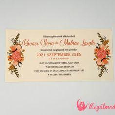 Őszi nyomtatott esküvői meghívó 13. #esküvői #meghívó #nyomtatott #esküvőimeghívó #ősz #őszimeghívó #egyedi #wedding #weddinginvitation #fall #autumn #fallinvitation #unique Spring Wedding Invitations, Winter Springs, Place Cards, Fall Winter, Place Card Holders