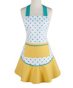 Look at this Aqua & Yellow Polka Dot Ruffle Apron by Design Imports Yellow Accents, Blue Yellow, Color Accents, Color Yellow, Couture, Ruffle Apron, Sewing Aprons, Aprons Vintage, Kitchen Aprons