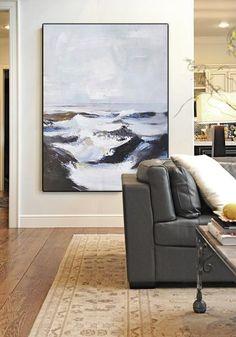 CZ Art Design - Hand painted Palette Knife Abstract Seascape painting canvas art #L46B, vertical landscape art.