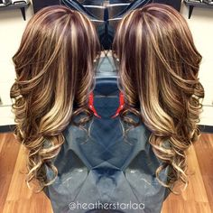 All over blonde highlight with a brown red base.