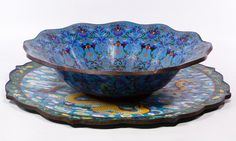 Lot 423: Asian Cloisonne Charger and Bowl; Two items including a large dragon motif charger and a large bowl with blue ground and stylized flowers