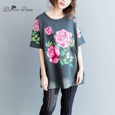 BelineRosa 2017 New Spring Women Clothes Floral Printed Cotton Tops and Tees for Women Female Fit XL ~ 4XL HS0183