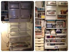 craft closet from recycled refrigerator parts --- pinner chose image only. Frustrating that I couldn't find source even w/ Google image search. I noticed how closet shelves from expensive organizing stores sometimes resemble refrigerator shelves. Not sure if I like the overall look of this, but might work in a garage as well for Shannan's tools and stuff.