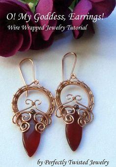 TUTORIAL, Wire Wrapped Earrings, O! My Goddess Earrings, Marquee, Wire Weaved Jewelry Pattern on Etsy, $10.01