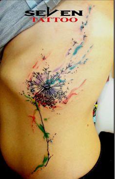 Watercolor Dandelion in Seven Tattoo Leiria