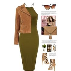 Sassyselfie.com by yexyka on Polyvore featuring Oasis, Rebecca Minkoff, Nearly Natural, Bobbi Brown Cosmetics, GREEN, dress, sunglasses, trend and sassyselfie