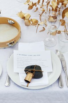 The bride's place setting, complete with tambourine.