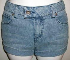 Upcycled Denim Cut off Jean Shorts Size 14 Slim Girls Stretch So Wear it Declare #Sowearitdeclareit #Everyday