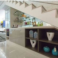 under stairs ideas Under Staircase Ideas, Shelves Under Stairs, Kitchen Under Stairs, Stair Shelves, Staircase Storage, Staircase Design, Stairs In Living Room, House Stairs, Rustic Stairs