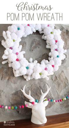 Christmas Pom Pom Winter Wreath! Made out of felt balls and yarn pom poms! SO Cute!