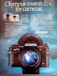 An original 1985 advertisement for the Olympus OM-PC camera. Photo ad print detailing this model's ESP, Electro Selective Pattern metering.