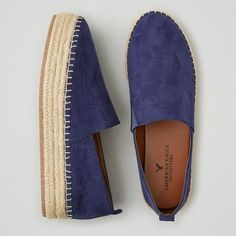 AEO Flatform Flats ($40) ❤ liked on Polyvore featuring shoes, flats, navy blue, american eagle outfitters shoes, navy flat shoes, espadrilles shoes, woven flat shoes and woven shoes