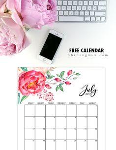 Free Printable July 2017 Calendar: 12 Pretty Designs!