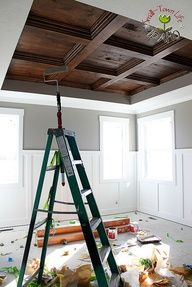 DIY Master Bedroom Coffered Ceiling Image Source--I never like tray(?) ceilings, but this is nice. Such great contrast and richness.