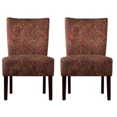These Portfolio Duet Emma armless accent chairs feature a paisley patterned upholstery. Comfortable and stylish, these chairs are designed with a slightly contoured back, spacious seat and resilient foam.
