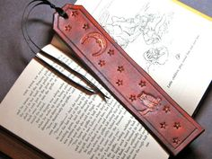 Leather Nightowl Bookmark in Russet Leather by RiverGypsyArts