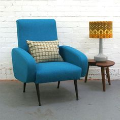 Image of Vintage Armchair in Blue Wool from Winters Moon